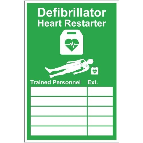DEFIBRILLATOR PERSONNEL SIGN (200 x 300mm)