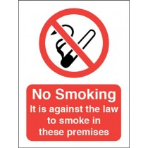 NO SMOKING - AGAINST THE LAW SIGN