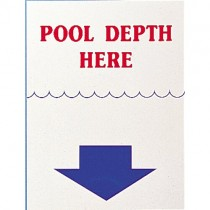 POOL DEPTH HERE SIGN - SMALL