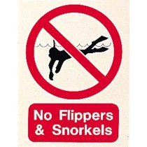 NO FLIPPERS AND SNORKELS SIGN