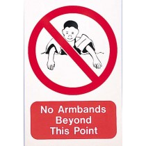 NO ARMBANDS BEYOND THIS POINT SIGN - LARGE