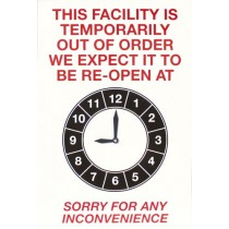 THIS FACILITY IS TEMPORARILY OUT OF ORDER SIGN - LARGE