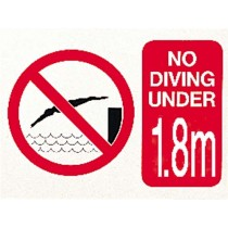 NO DIVING UNDER 1.8m SIGN