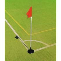 White post, red flag, rubber base