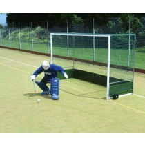 FREESTANDING PREMIER STEEL HOCKEY GOAL - WOODEN BACKBOARD