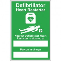 DEFIBRILLATOR LOCATION / PERSON SIGN (200 x 300mm)