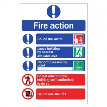 FIRE ACTION SIGN (200 x 300mm)