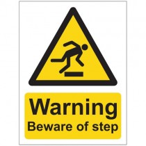 WARNING BEWARE OF STEP SIGN (150 x 200mm)