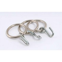 CUBICLE/SHOWER CURTAIN HOOKS AND GALVANISED RINGS