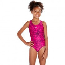 SPEEDO JUNIOR BOOM ALLOVER SPLASHBACK SWIMSUIT - PINK/BLACK